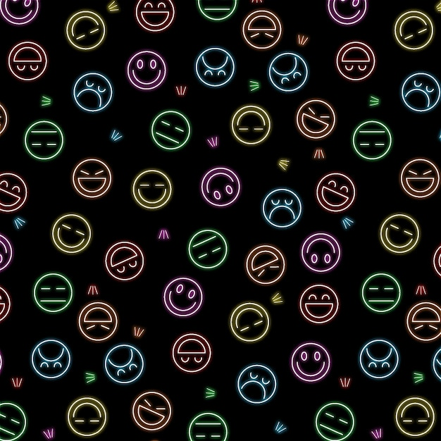 Neon emoticons patroon sjabloon Premium Vector
