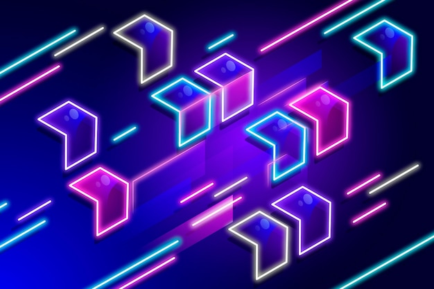 Neon geometrisch behang Premium Vector