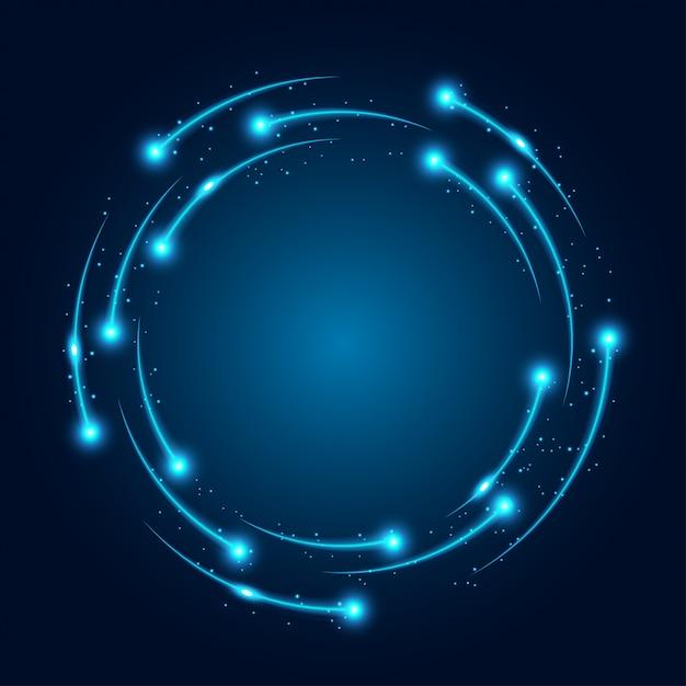 Neon gloeiende technolijnen Premium Vector