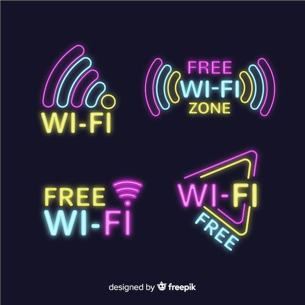 Neon gratis wifi tekencollectie Gratis Vector