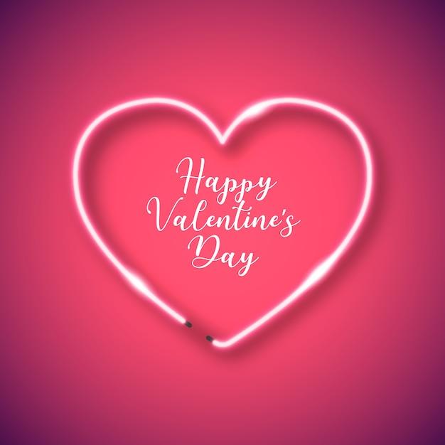 Neon hart frame voor valentijnsdag Gratis Vector