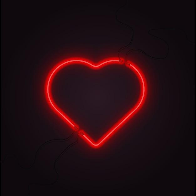 Neon hart vector gloeiende lamp Premium Vector