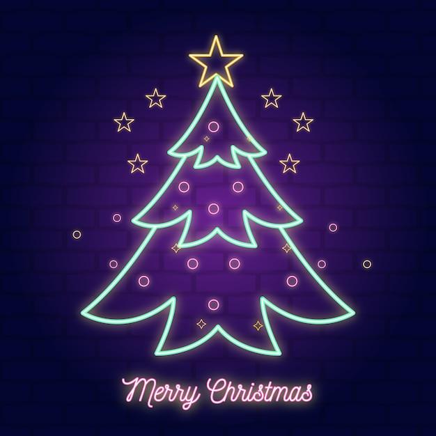 Neon illustratie kerstboom Gratis Vector