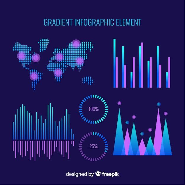 Neon infographics elementeninzameling Gratis Vector
