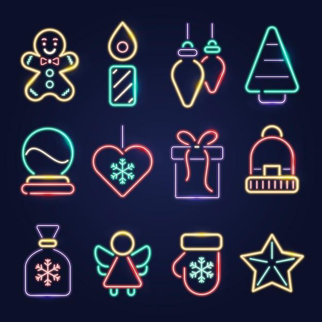Neon kerst element collectie Gratis Vector