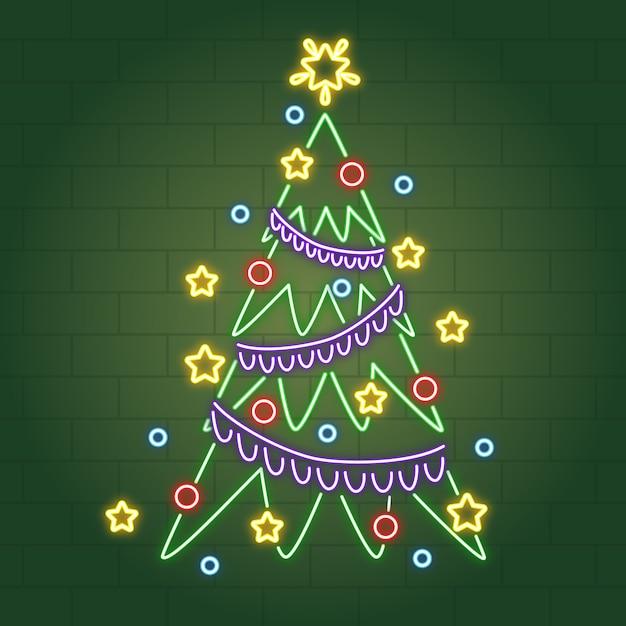 Neon kerstboom met kerstballen en klatergoud Gratis Vector