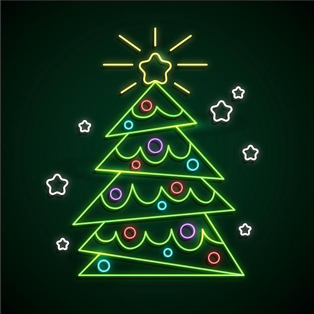 Neon kerstboom met sneeuwvlokken Gratis Vector