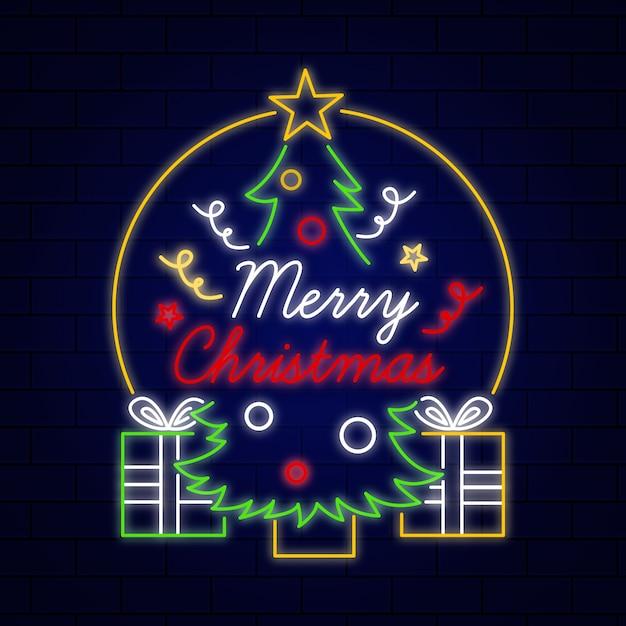Neon kerstboom met verlichting Gratis Vector