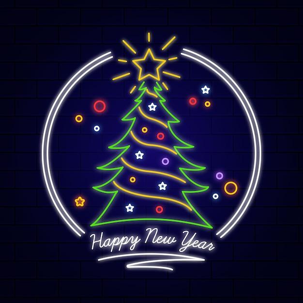 Neon kerstboom Gratis Vector