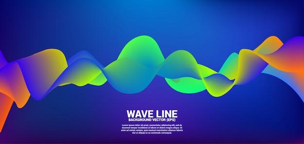 Neon kleur vloeiende curve vorm achtergrond. Premium Vector