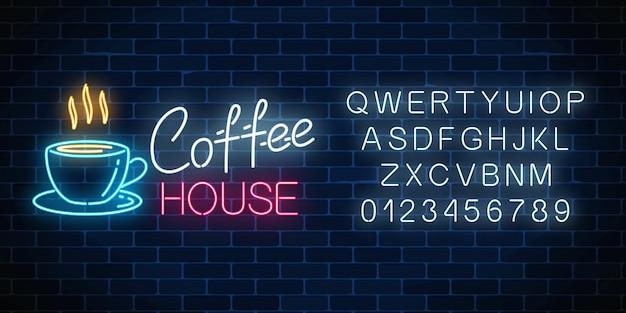 Neon koffiehuis uithangbord met alfabet op een donkere bakstenen muur Premium Vector