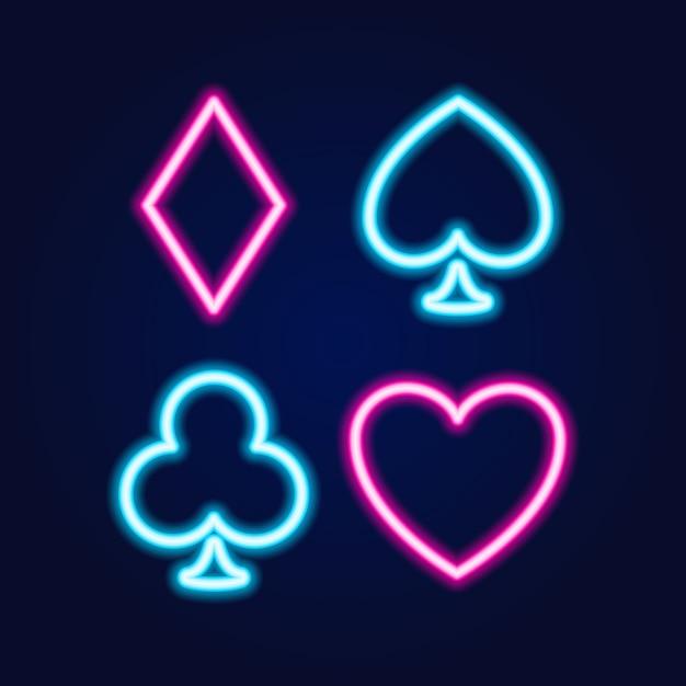 Neon lamp casino pictogram, poker of blackjack kaartspellen teken Premium Vector