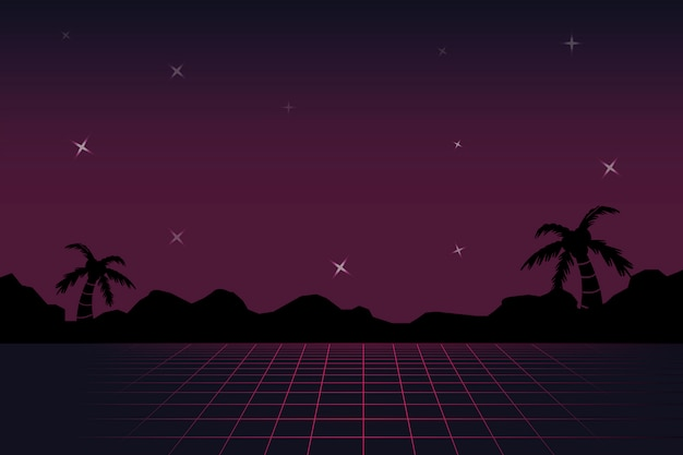 Neon landschap achtergrond Gratis Vector