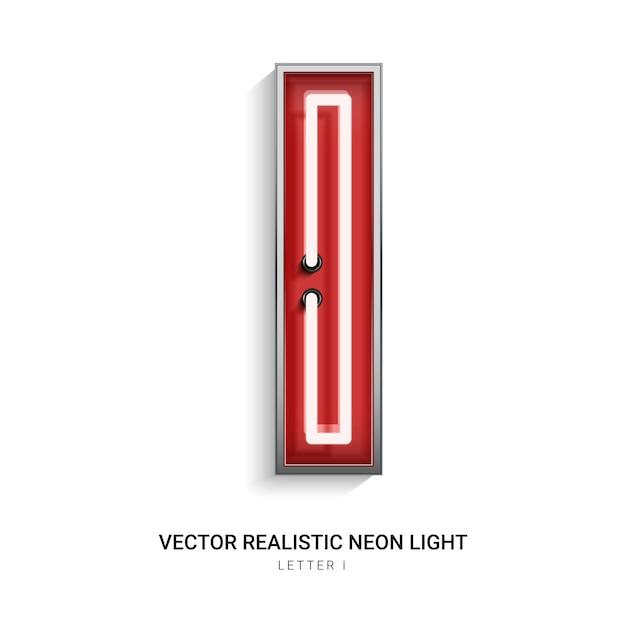 Neon letter i Premium Vector