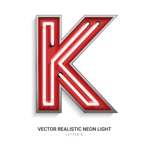 Neon letter k Premium Vector