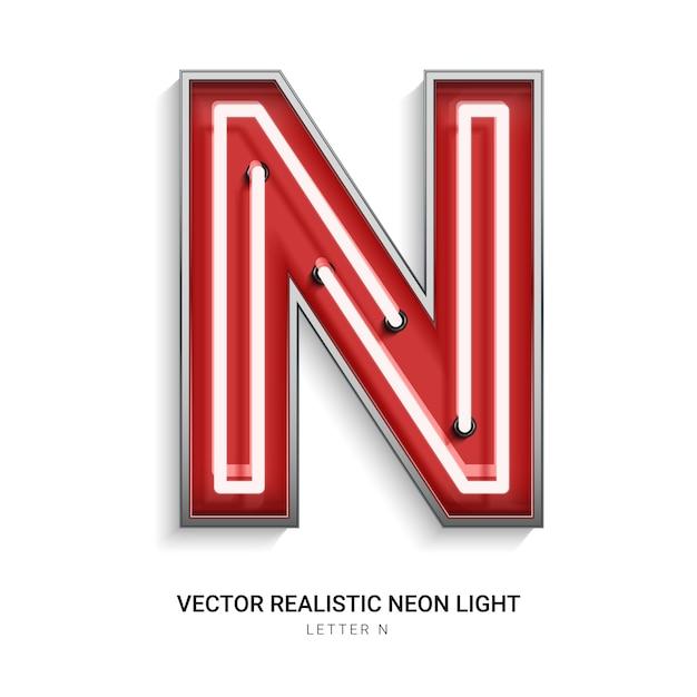 Neon letter n Premium Vector