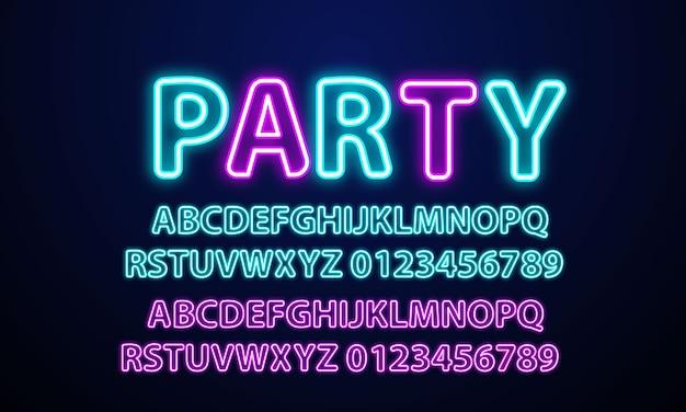 Neon licht alfabet neon lettertype. Premium Vector