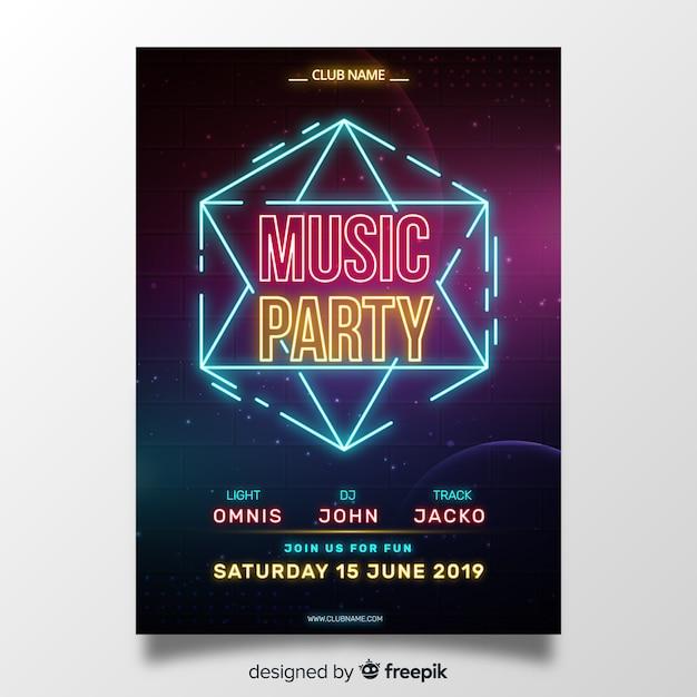 Neon licht muziek poster sjabloon Gratis Vector