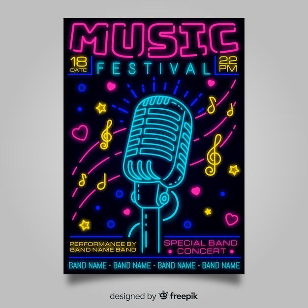 Neon lichten muziek festival poster sjabloon Gratis Vector