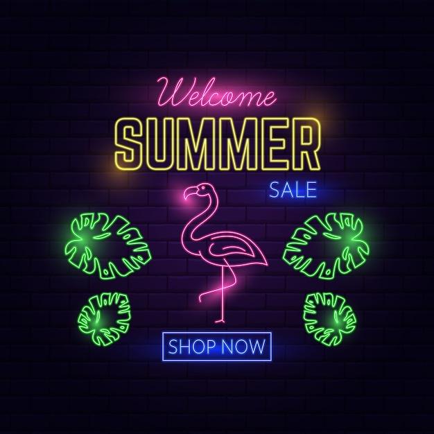 Neon light welkom zomerverkoop Premium Vector