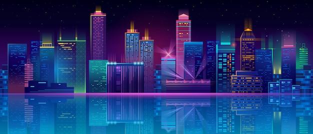Neon megapolis achtergrond met gebouwen, wolkenkrabbers Gratis Vector