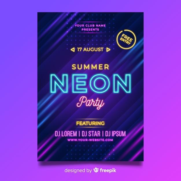 Neon muziek festival poster sjabloon Gratis Vector