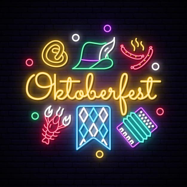 Neon oktoberfest pictogrammen instellen. Premium Vector