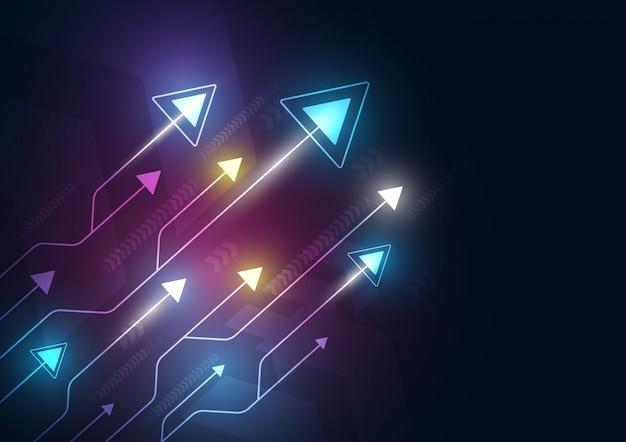 Neon pijlsnelheid en technologie data load abstract met kleurrijke achtergrond Premium Vector