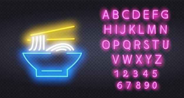 Neon ramen in een kom. Premium Vector