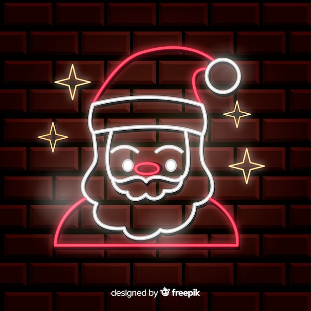 Neon santa claus achtergrond Gratis Vector