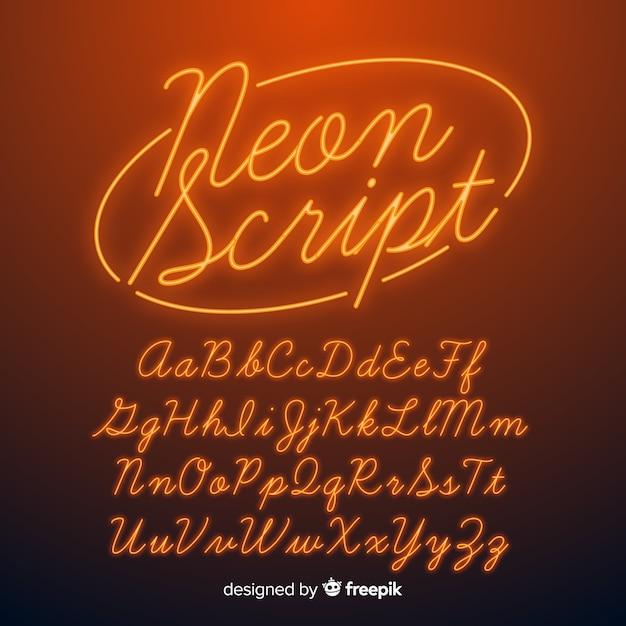 Neon script alfabet Gratis Vector