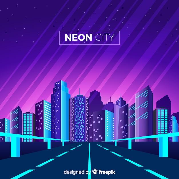 Neon stad achtergrond Gratis Vector