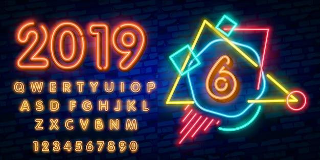 Neon stad lettertype teken nummer zes Premium Vector