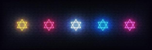 Neon stars of david set, joodse tekendecoraties voor chanoeka Premium Vector