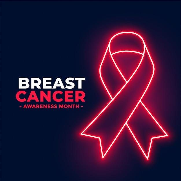 Neon stijl borstkanker bewustzijn maand poster Gratis Vector