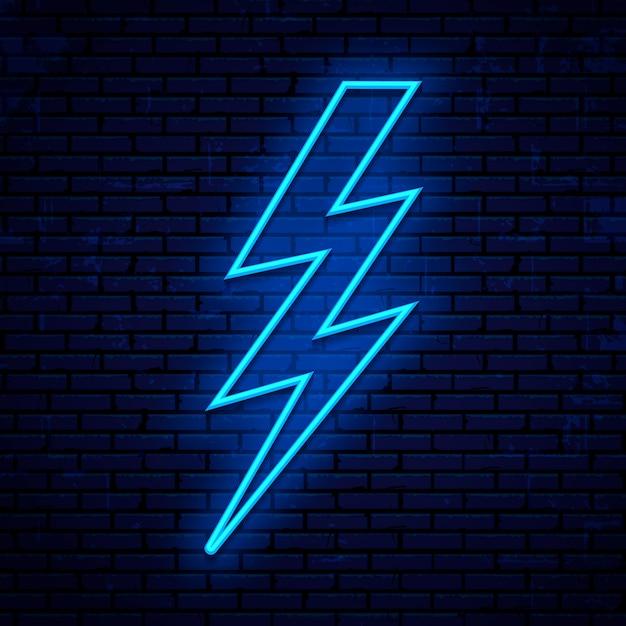 Neon teken bliksem, spanning pictogram geïsoleerd op bakstenen muur Premium Vector