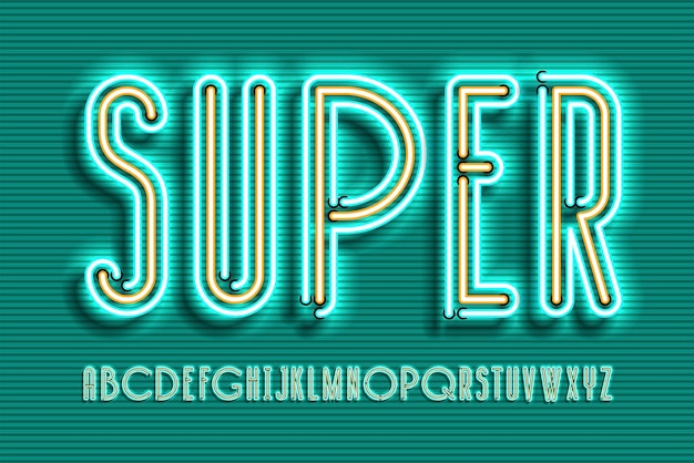 Neon teken lamp lettertype ontwerp, alfabet, tekenset, lettertype, typografie, elektriciteit licht retro letters. Premium Vector