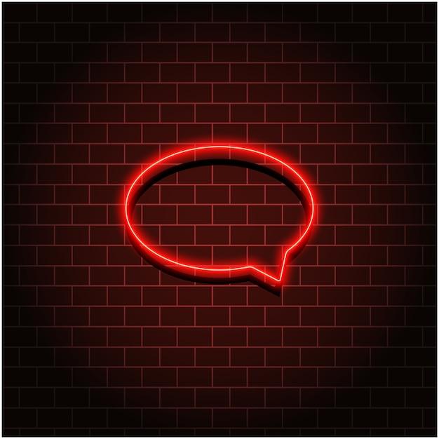 Neon tekstballon op muur. rood neoneffect Premium Vector