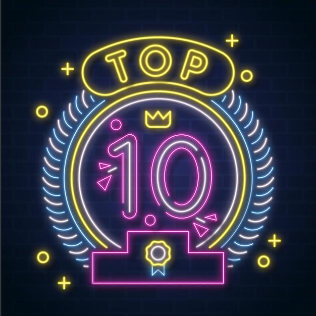Neon top 10 onderscheiding Premium Vector