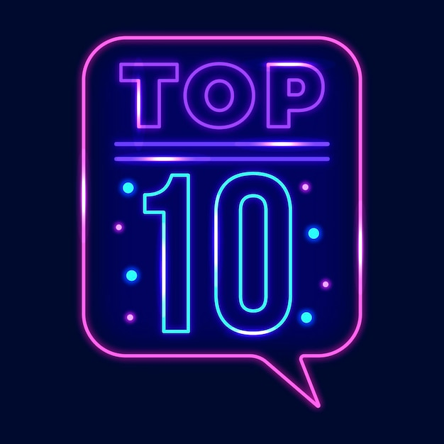 Neon top 10 onderscheiding Gratis Vector