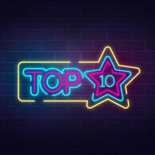 Neon top 10 sjabloon Premium Vector