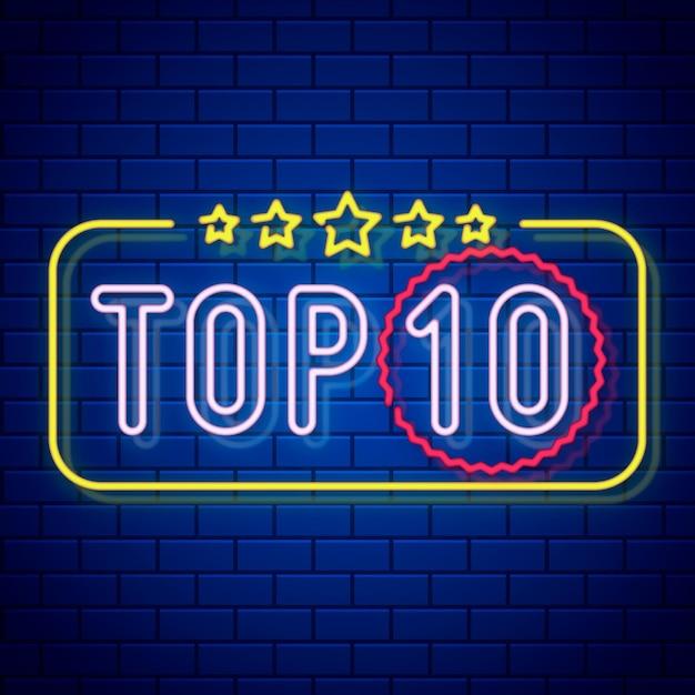 Neon top tien illustratie Premium Vector