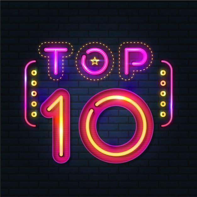 Neon top tien illustratie Gratis Vector