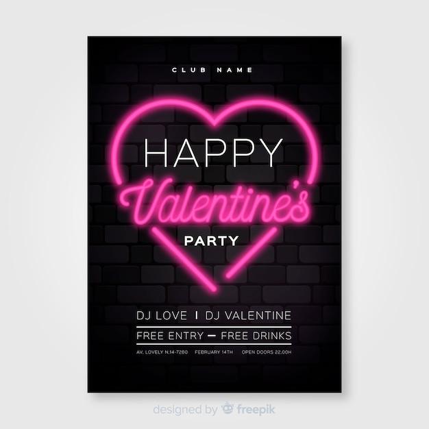 Neon valentijn partij poster Gratis Vector