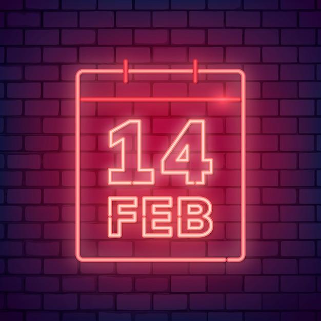 Neon valentijnsdag illustratie Gratis Vector
