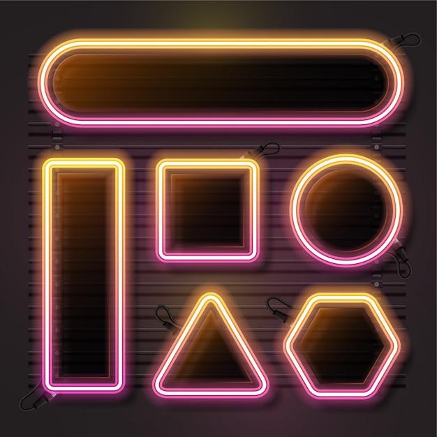 Neon vector set met geometrie vorm Premium Vector