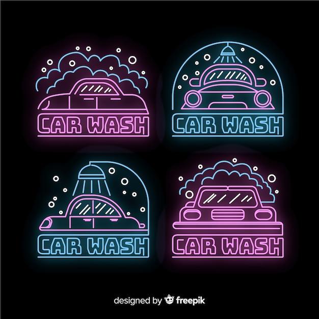 Neon wasstraat teken collectie Gratis Vector