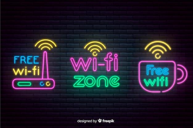 Neon wifi-signaalcollectie Gratis Vector
