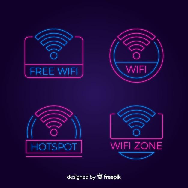 Neon wifi tekencollectie Gratis Vector
