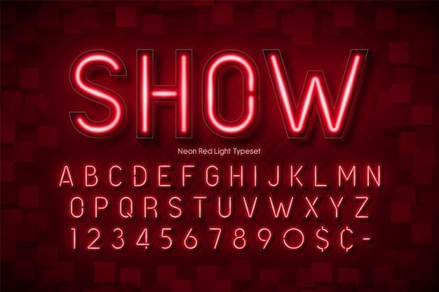 Neonlicht 3d alfabet, extra gloeiend lettertype Premium Vector